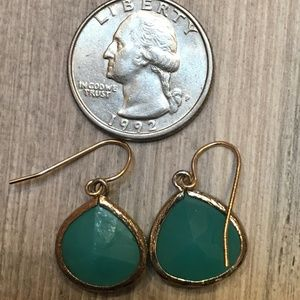 Turquoise glass tear drop earrings
